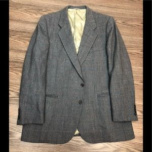 Valentino Grey, Blue & Gold Plaid Sport Coat 42R